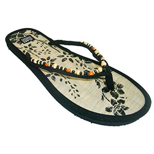 Toe perizoma decorazione paglia spiaggia o in piscina con palline pianta striscia Gioseppo nero taille 40