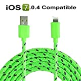 3 metre Baby Green 8 Pin Charger Cable and Sync Lead,Unbreakable Braided Cable compatible with iPhone 5,5c,5s,iPad Mini, 4G,iPod Touch 5G,Nano 7G