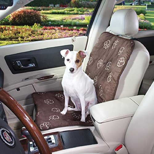 Guardian Gear Polyester Paw Print Single Seat Dog Car Seat Cover, Chocolate front-41280
