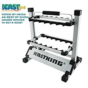 KastKing Rack 'em up Fishing Rods Holder - 2015 ICAST Best of Shw Award Winner - Portable Aluminum Fishing Rod Racks [Upgraded 2016 Model with New Packaging] - 24 Rod Rack for All Types of Fishing Rods and Combo/ 12 Rod Rack for Freshwater Rods