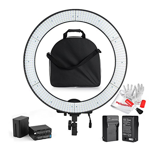 Professional LA-650B Photography 600 LED Ring Video Light Dual Power Supply Stepless Adjustable LED Video Lighting Kit with 6600mah Battery Pack for Video, Portrait and Photography Lighting