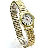 Ladies/Womens Gold Expanding/Expander/Expansion Bracelet Band Watch (102210lx)