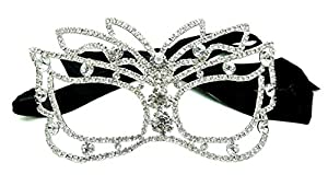 Venetian Masquerade Round Crystals Bridal Silver Tone Mask with Satin Ribbon Tie