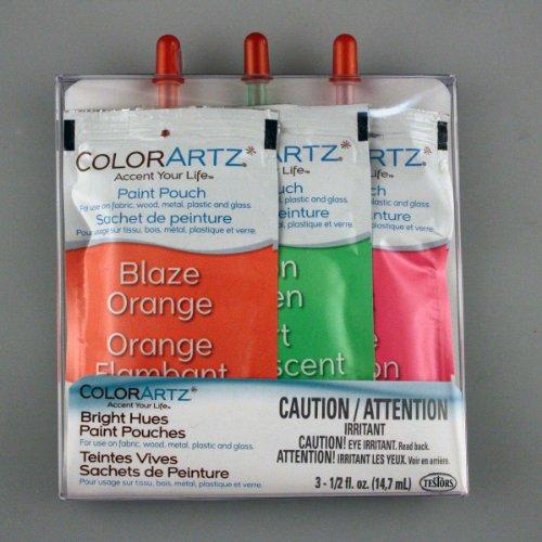 ColorArtz Airbrush Paint Pouch, Neon Green/Blaze Orange/Hot Pink (Testors Paint Neon Orange compare prices)