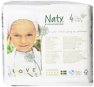 Naty by Nature Babycare Size 4 (15-40 lbs/7-18 Kg) Nappies - 4 x Packs of 27 (108 Nappies)