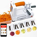 Spiralizer 5-Blade - Mealthy Vegetable Slicer with Catch & Store Container and Stainless Steel Blades, Heavy Duty Base, Free iOS and Android App with Recipes and Videos