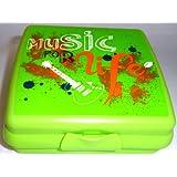 """1a TUPPER A126 Schulbrotdose SANDWICH-Box """"MUSIC FOR LIFE""""--- grün mit Gitarren-Motiv"""