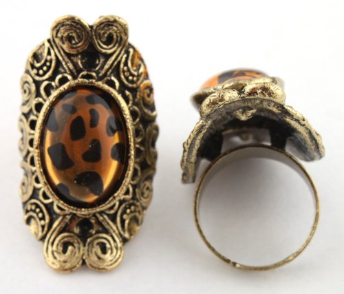 Ladies Gold Antique Style with Cheetah Print Oval Center Metal Adjustable Finger Ring