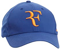 Nike RF Roger Federer Tennis Hat Cap Dri- Fit (Indigo Blue-Fluorescent Orange)