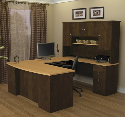 Manhattan Collection U-shaped Workstation with Hutch Included