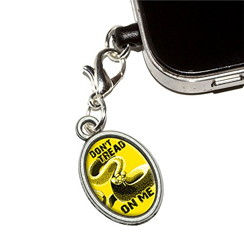 Gadsden Flag - Don'T Tread On Me Rattlesnake Tea Party Mobile Cell Phone Jack Anti-Dust Oval Charm Fits Iphone Ipod Galaxy