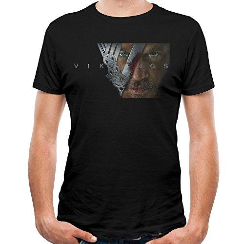 Arnoldo Blacksjd Men's Awesome Face Viking Ragnar Lothbrok T-Shirts Medium