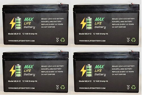 12V 9Ah Sealed Lead Acid Battery For Atvs And Surge Protector - 4 Pack