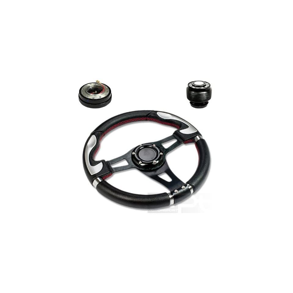 "SW T340+HUB OH90+QL 2, 320mm 12.5"" Black PVC Leather Red Stitch Silver Trim Black Spoke 6 Hole Racing Aluminum Steering Wheel with OH90 Short Hub Adapter and 2"" Slim Quick Release with Horn Button Automotive"