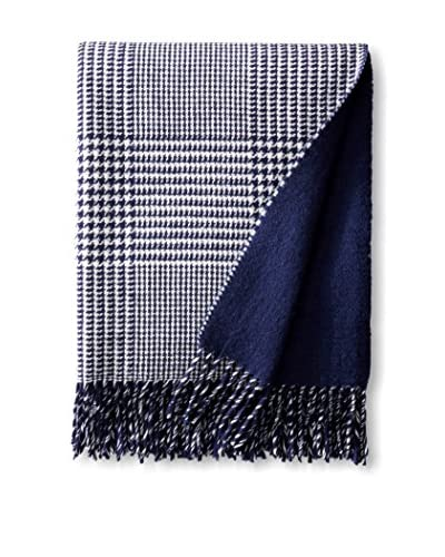 Foxford Atlantic Glen Check Throw, Blue/White