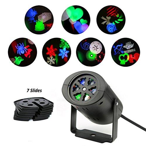 Coolkey Rotating RGB Projektions LED Bühnenbeleuchtung,Bühnenlicht 7PCS Schaltbare Muster Objektiv für Halloween, Weihnachten, Geburtstag, Feiertag, Hochzeit, Party, Kinderzimmer, Wohnkultur