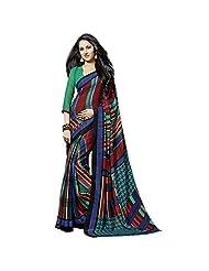 Fancy Smart Multi Colored Printed Art Silk Saree By Triveni