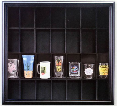 Pinnacle Black Shot Glass Case with Hinged Front (Shot Glass Wall Display compare prices)