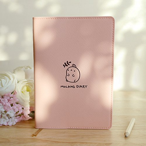 "Molang Diary Ver.3 Undated Planner Journal Scheduler Organizer Agenda Kawaii Cute Rabbit 4.5"" x 6.5"" - Authentic Korea item rosa"