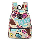 Lanpad Small Print Backpack Mini Canvas School Bag for Kids(Yellow)