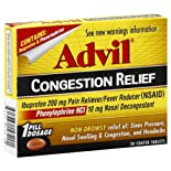 Advil Congestion Relief, Non-drowsy, Coated Tablets, 20 Ct.