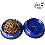 GPET Dog Bowl with Rubber Base, Blue 32 Ounce (Set of 2)