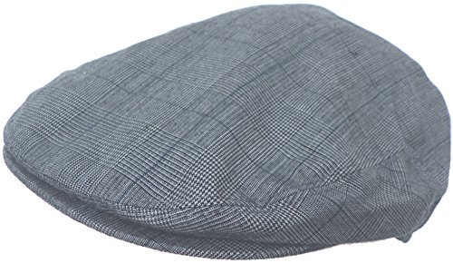 Summer Plaid Ivy Scally Driver Cap Polyester Flat Hat (Medium, Navy)