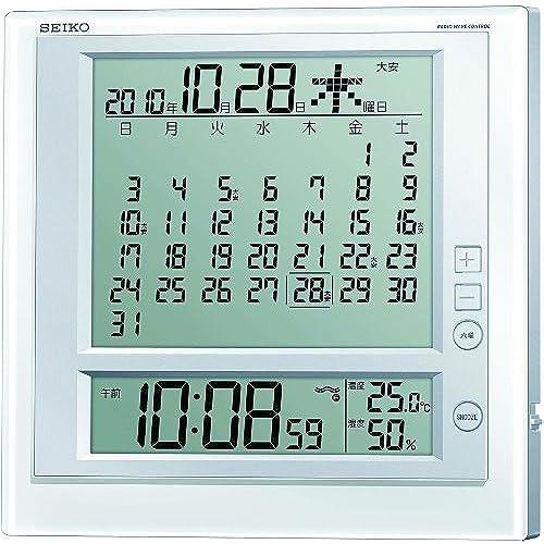 세이코 벽 탁상 시계 월별 달력 기념일 표시 디지털 전파 알람 SQ422W