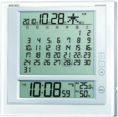 SEIKO CLOCK ( Seiko clock ) hanging clock table clock combined monthly calendar function Roku-jdisplay digital radio alarm clock SQ422W