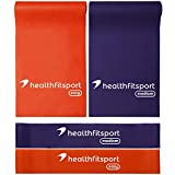 Healthfitsport Exercise Resistance Workout Body Bands Loop Set of 4 for Fitness & Yoga, Strength, Stretch, Rehabilitation, Physical Therapy
