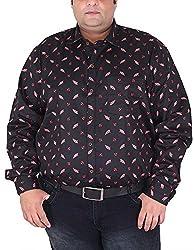Xmex Men's Cotton Shirt (KR-359BLK, Black, XXX-Large)