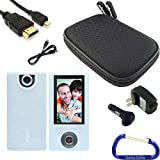 Gizmo Dorks Silicone Skin Cover (Clear White), Hard Shell Case (Black), HDMI Cable, and Charging Bundle with Carabiner Key Chain for the Sony Bloggie Camera MHS-FS1