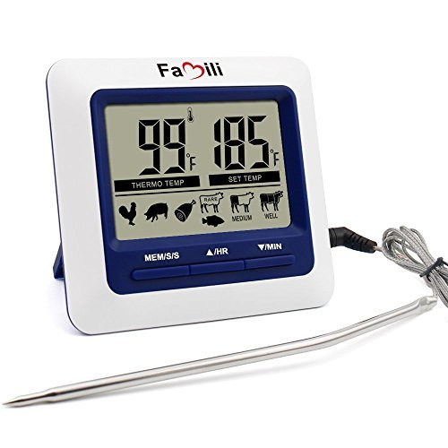 Famili MT004 Digital Kitchen Food Meat Cooking Electronic Thermometer Probe for BBQ, Oven, Grill, and Smoker with Timer/Alarm and Large LCD Display (Cooking Probe Thermometer compare prices)