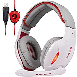 White Version of SA902 7.1 channel Gaming Headset SADES SA902 PC Computer USB headsets, Wired Over Ear Stereo Headphones With Microphone Noise Isolating Volume Control LED Light (White Red)