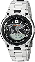 Casio Men's AW-80D-1A2VCF Databank Analog/Digital Display Quartz Silver-Tone Watch