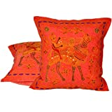 Little India Hand Embroidery Brocade Work Cotton 2 Piece Cushion Cover Set - Orange