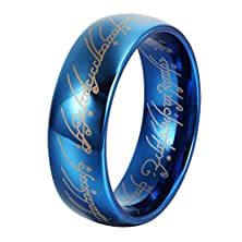 buy L-Ring 8Mm Blue Tungsten Wedding Ring With Laser Pattern Lord Of The Rings Thumb Rings, Size 6-14(13)