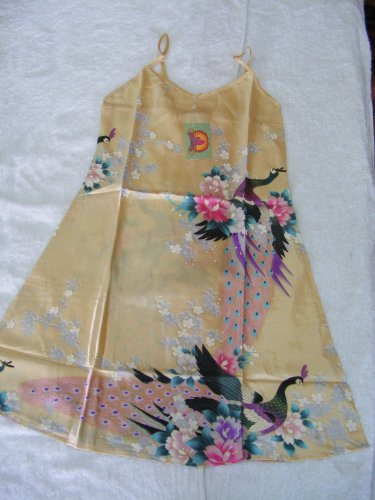 Women's 100% Thai Silk Night Gown- Asian Peacock Design- Golden Wheat (Size F-1, SMALL)
