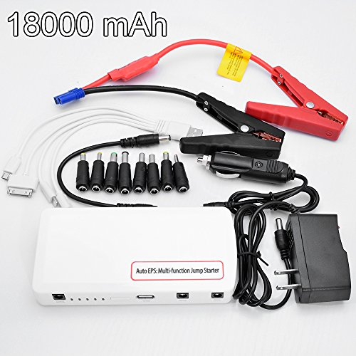 12V 18000Mah Portable Vehicle Car Jump Starter Mini Power Supply Bank Battery Cellphone Charger With Led Light