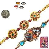Little India Sending Online Indian Traditional Mauli Rakhis Rakhi Raksha Bandhan Gift Band Moli Bracelet Wristband with Roli Chawal Tilak Sandal Powder Pooja Coin Misri Greeting Card Gift for Brother Bhaiya Bhai