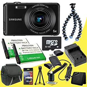 Samsung ST71 14.2 MP HD Digital Camera (Black) + Two BP70A Replacement Lithium Ion Batteries + External Rapid Charger + 32GB microSD Class 10 Memory Card + SDHC Card USB Reader + JOBY GorillaPod Original Flexible Camera Tripod + Carrying Case + Memory Card Wallet + Deluxe Starter Kit DavisMax Bundle