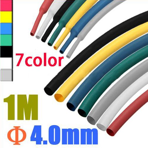 1M 4.0mm 7pcs Color 2:1 Polyolefin Heat Shrink Tubing Tube Sleeve Sleeving Wrap