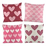 ShopMantra Pink Heart Patterns Printed Cushion Cover Set Of 4 16*16 Inch Multicolor Cushion Cover