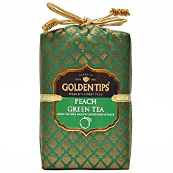 Golden Tips Peach Green Tea Brocade Bag (250g)