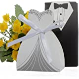 cnomg 100pcs Party Wedding Favor Dress & Tuxedo Bride and Candy Box