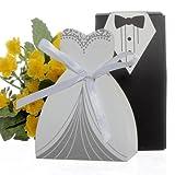 100pcs Party Wedding Favor Dress & Tuxedo Bride and Candy Box