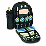 Picnic Time Sorrento Insulated Cooler Backpack with Picnic Service for Four (Black)