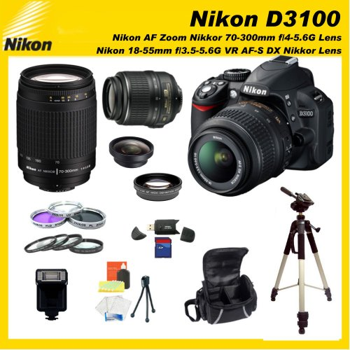 Nikon D3100 14.2MP CMOS Digital SLR Camera with Sports Package with Nikon 18-55mm VR Lens & Sigma 70-300mm f/4-5.6 DG Macro Autofocus Lens for Nikon AF With SSE 8GB Starters Kit including 0.45x Wide Angle Lens, 2x Telephoto Lens, Filter Kit, Macro Lens Kit, HDMI Cable, and much more...