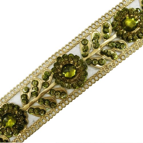 Gold Artificial Leather Ribbon Trim Green Sequin Border Lace Craft Sewing 1 Yd