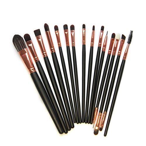 Kolight® 15pcs Cosmetic Makeup Brushes Set Powder Foundation Eyeshadow Eyeliner Lip Brushes for Beautiful Female (Black+Gold Rose)